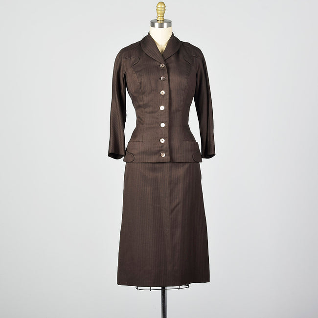 1950s Brown Two Piece Skirt Suit with Pockets