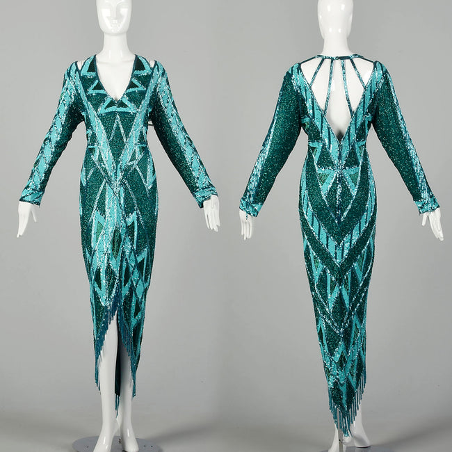 Large 1980s Bob Mackie Gown Bugle Beads Sequins Caged Back Hi Low Beaded Fringe Hem