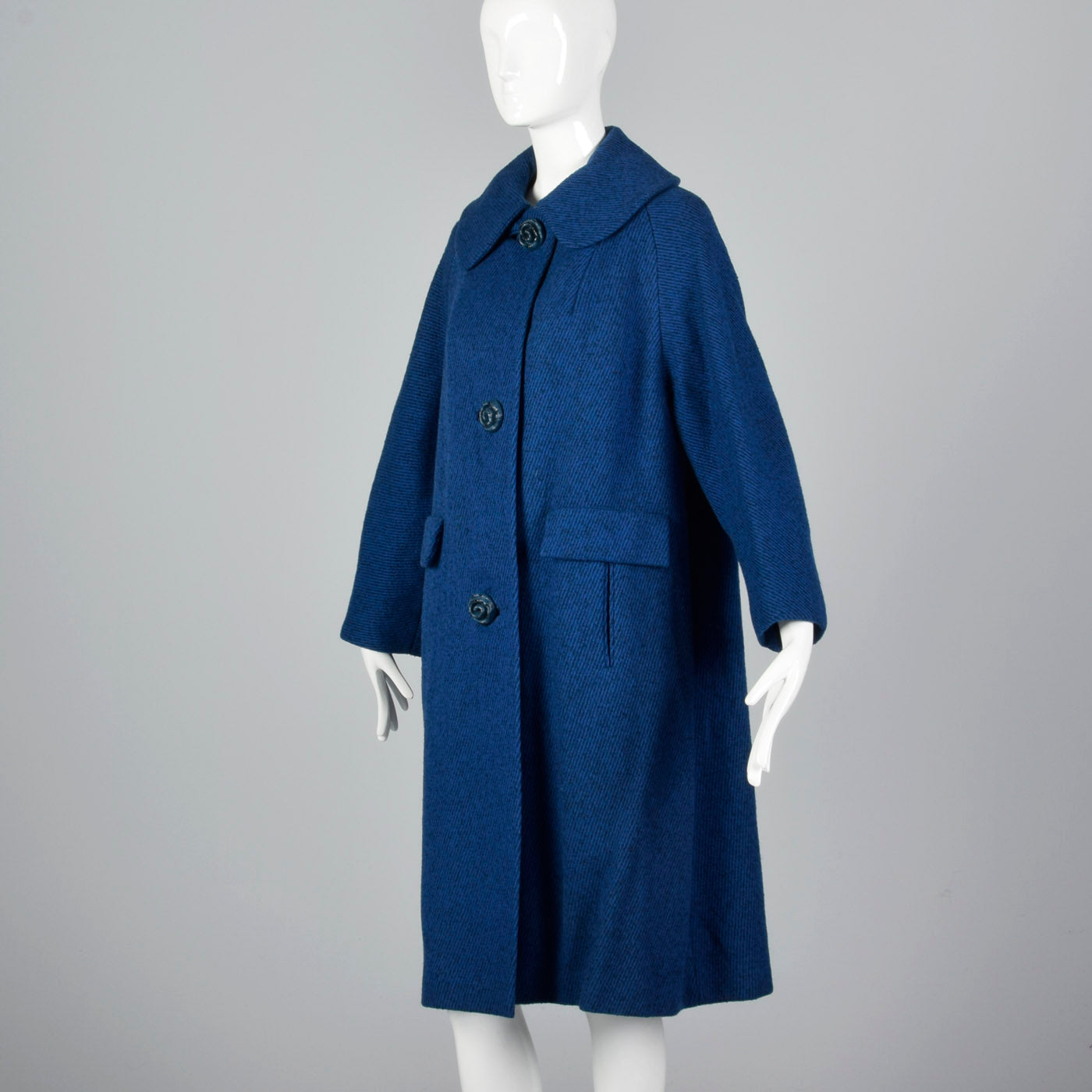 1950s Blue Tweed Coat with Decorative Floral Buttons