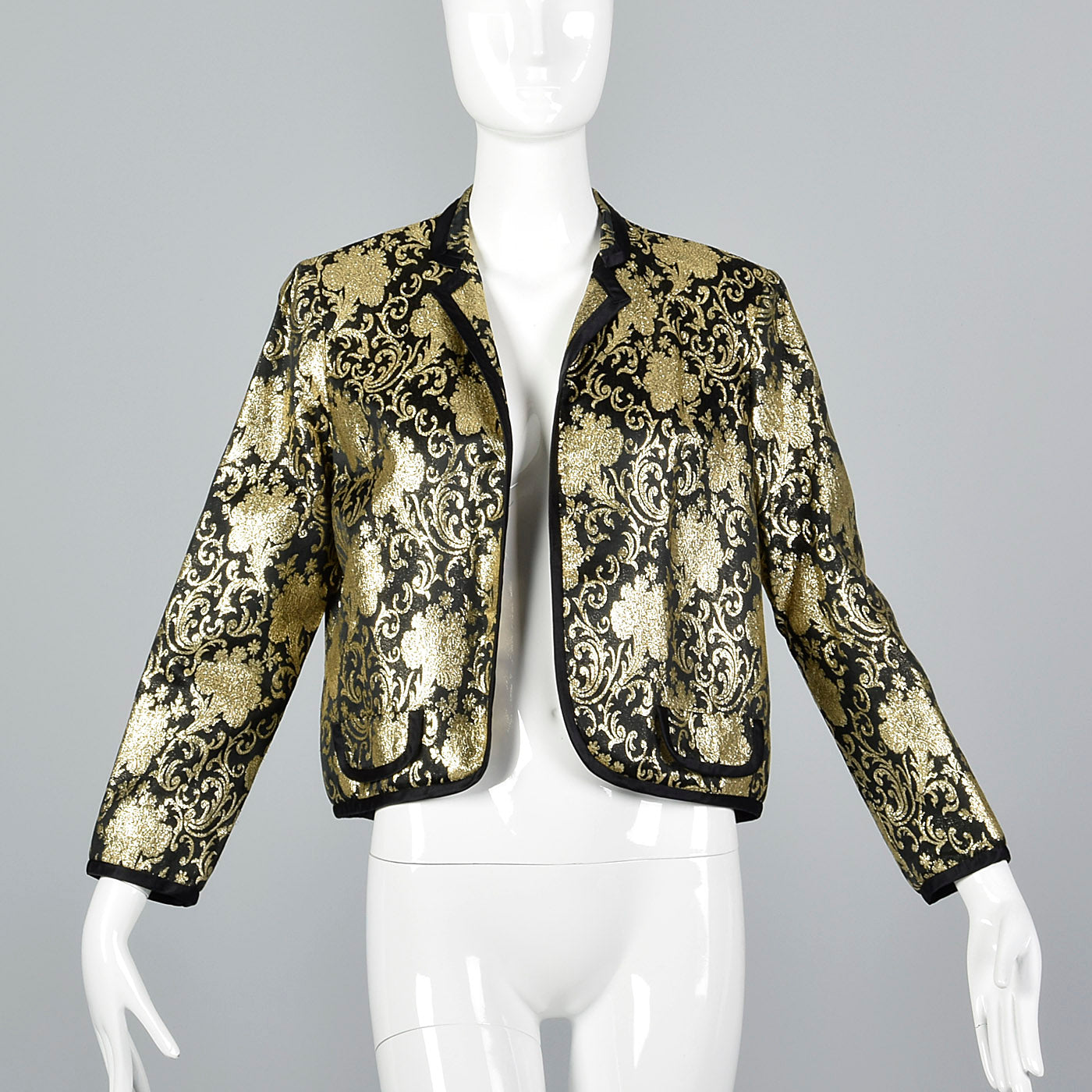 1980s Lillie Rubin Black and Metallic Gold Brocade Bolero Jacket