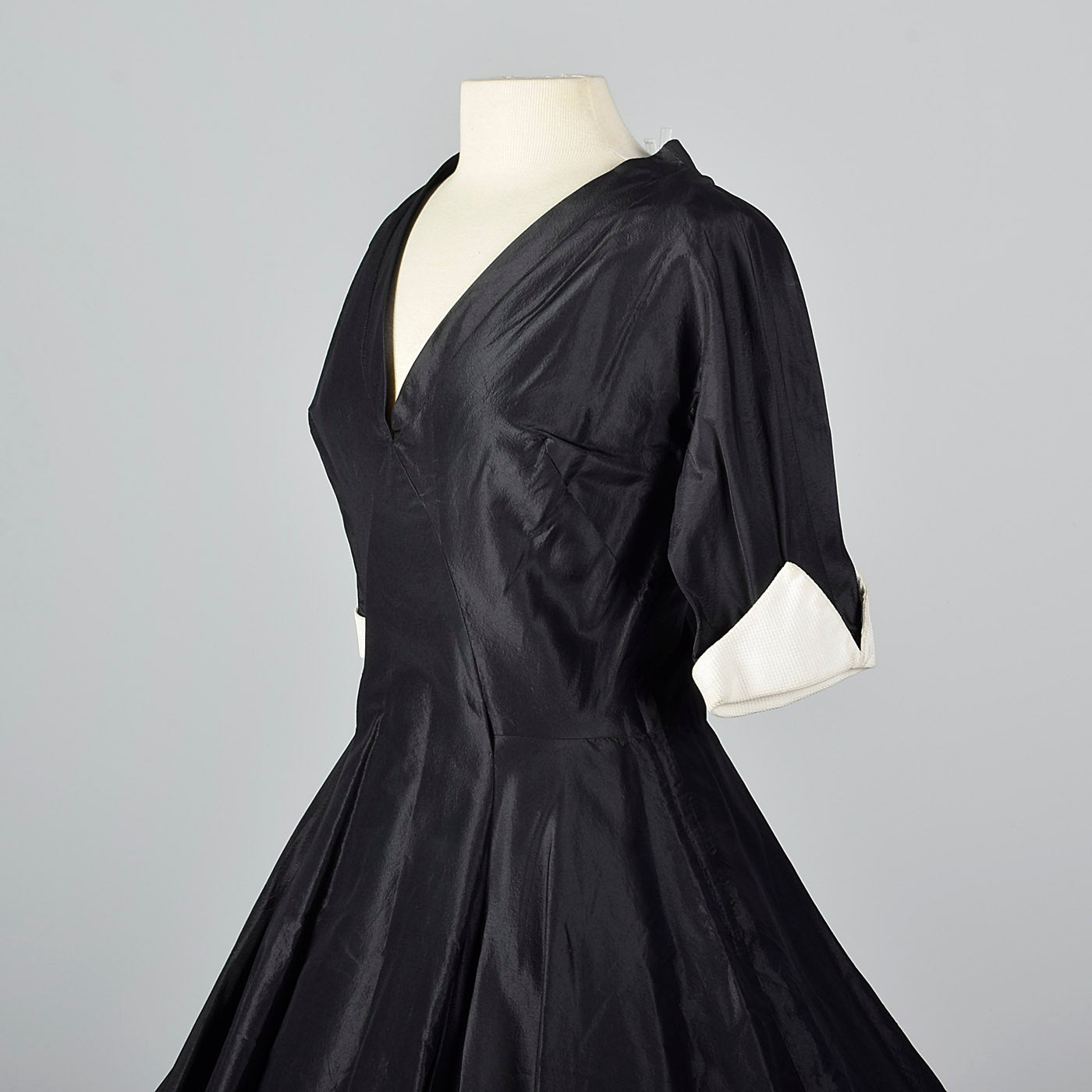 1950s Black Taffeta Party Dress with White Cuffs