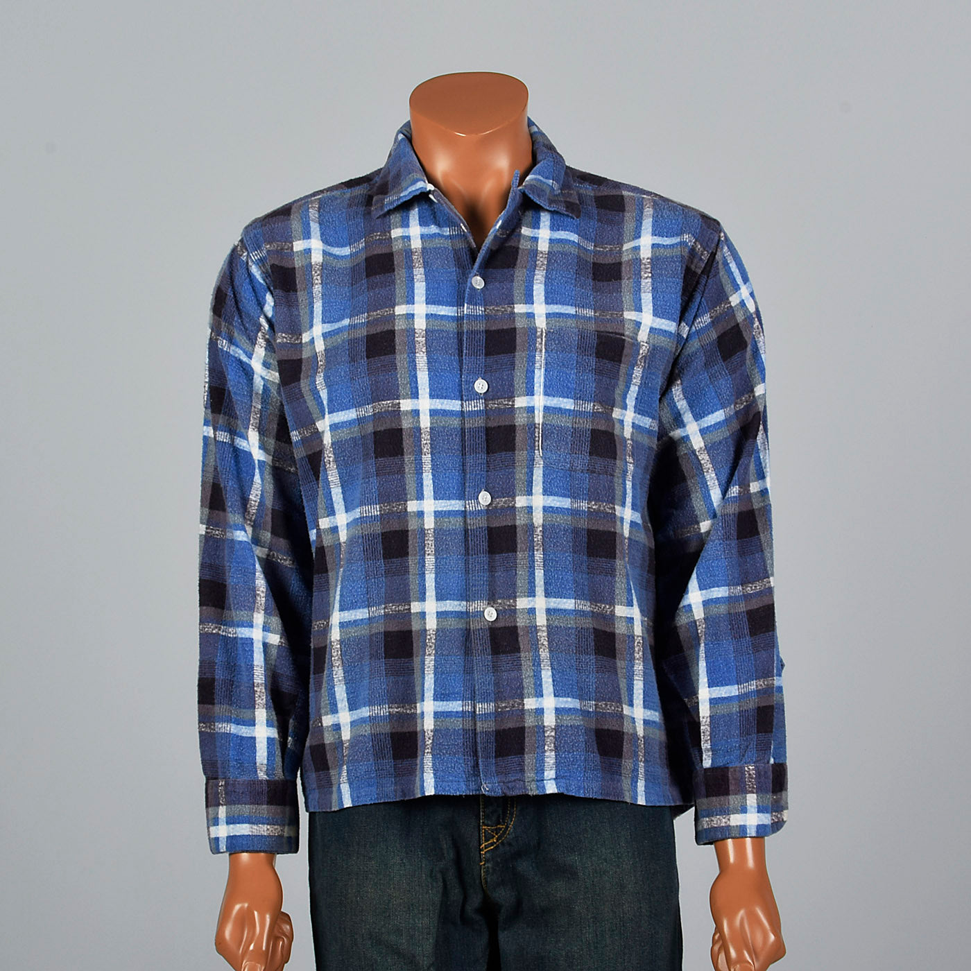 1950s Pilgrim Blue Plaid Flannel Shirt
