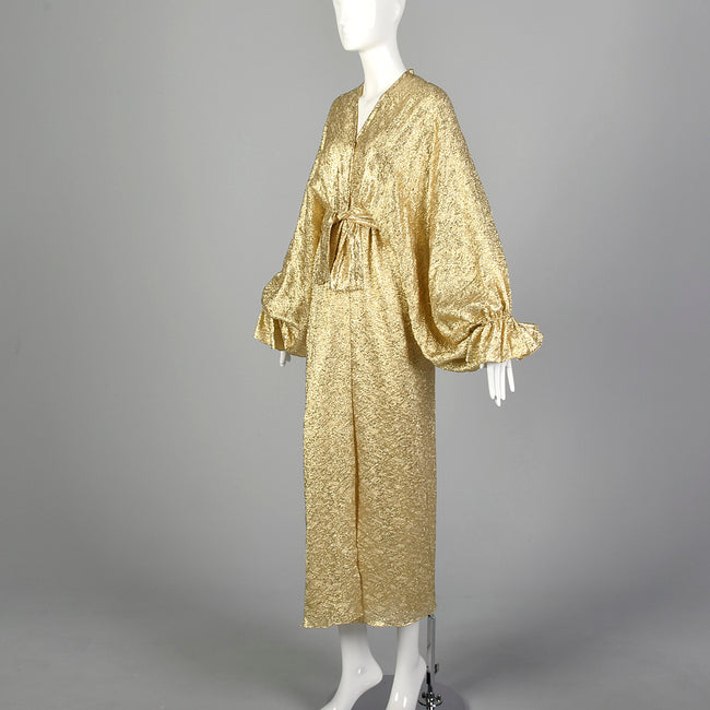 1970s Metallic Gold Evening Dress with Balloon Sleeves