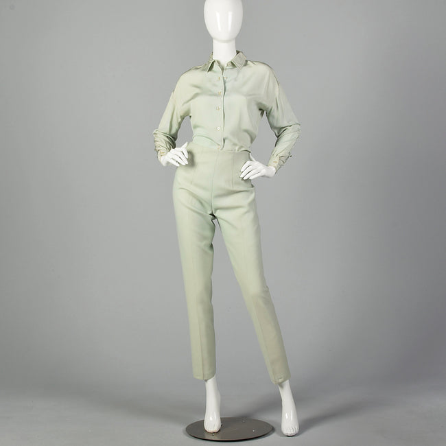 XS Pastel Green Jax Shirt and Cigarette Pants Set