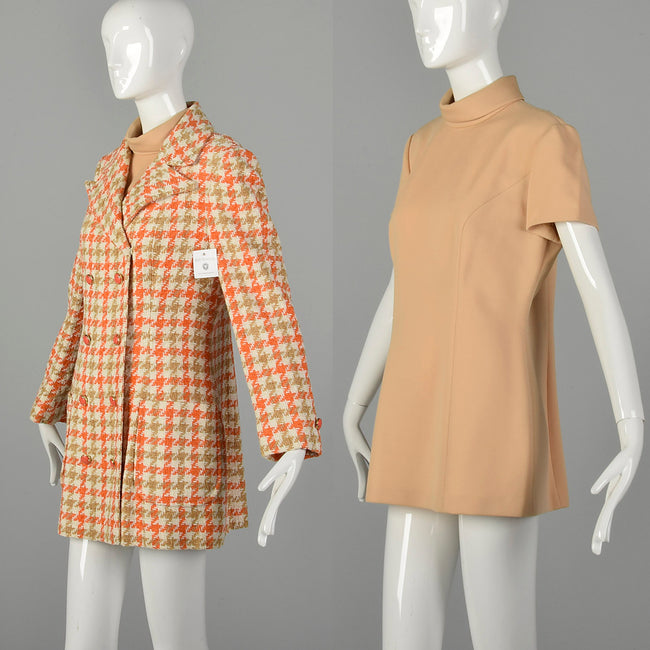 Large 1970s Blazer Set Lilli Ann Tweed Orange Tan Houndstooth Velour Tweed Jacket Mockneck Tunic Top