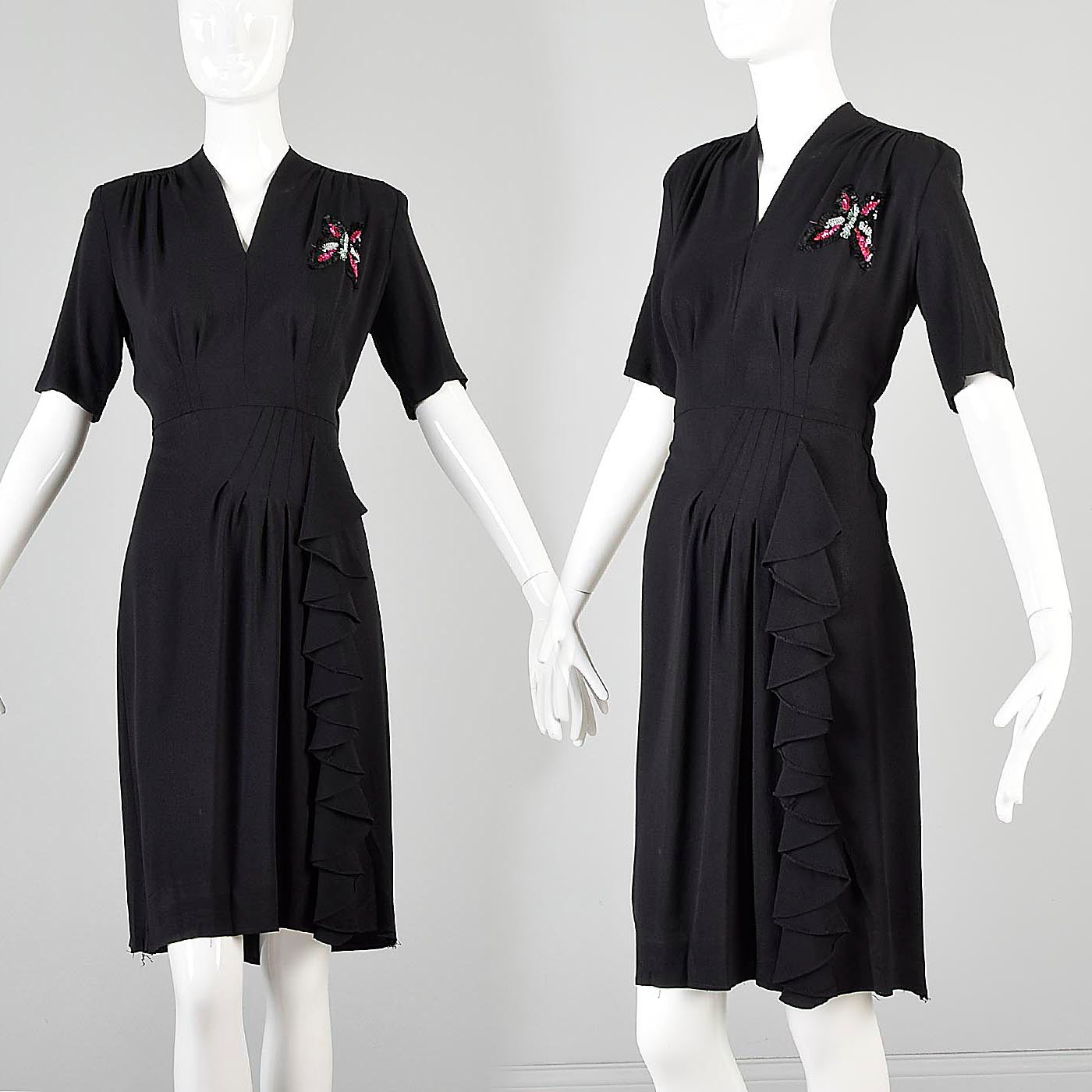 1930s Black Crepe Dress with Sequined Butterfly