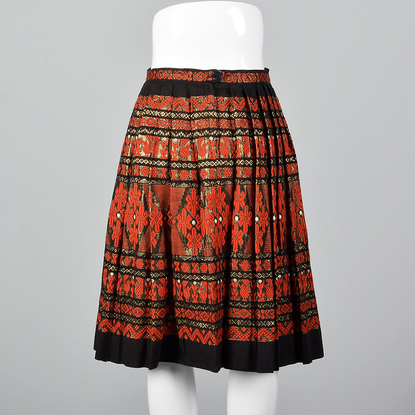 1950s Pleated Black Skirt with Red and Metallic Embroidery