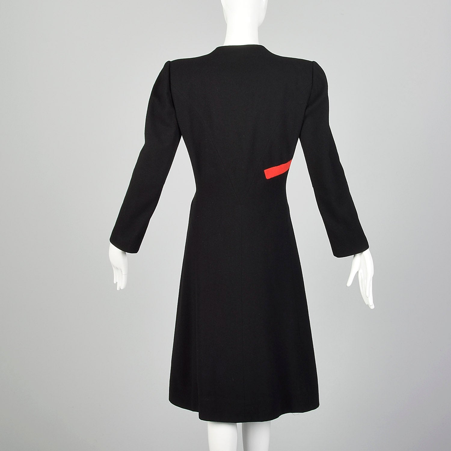 1940s Gilbert Adrian Black Wool Coat with Asymmetric Red Stripe