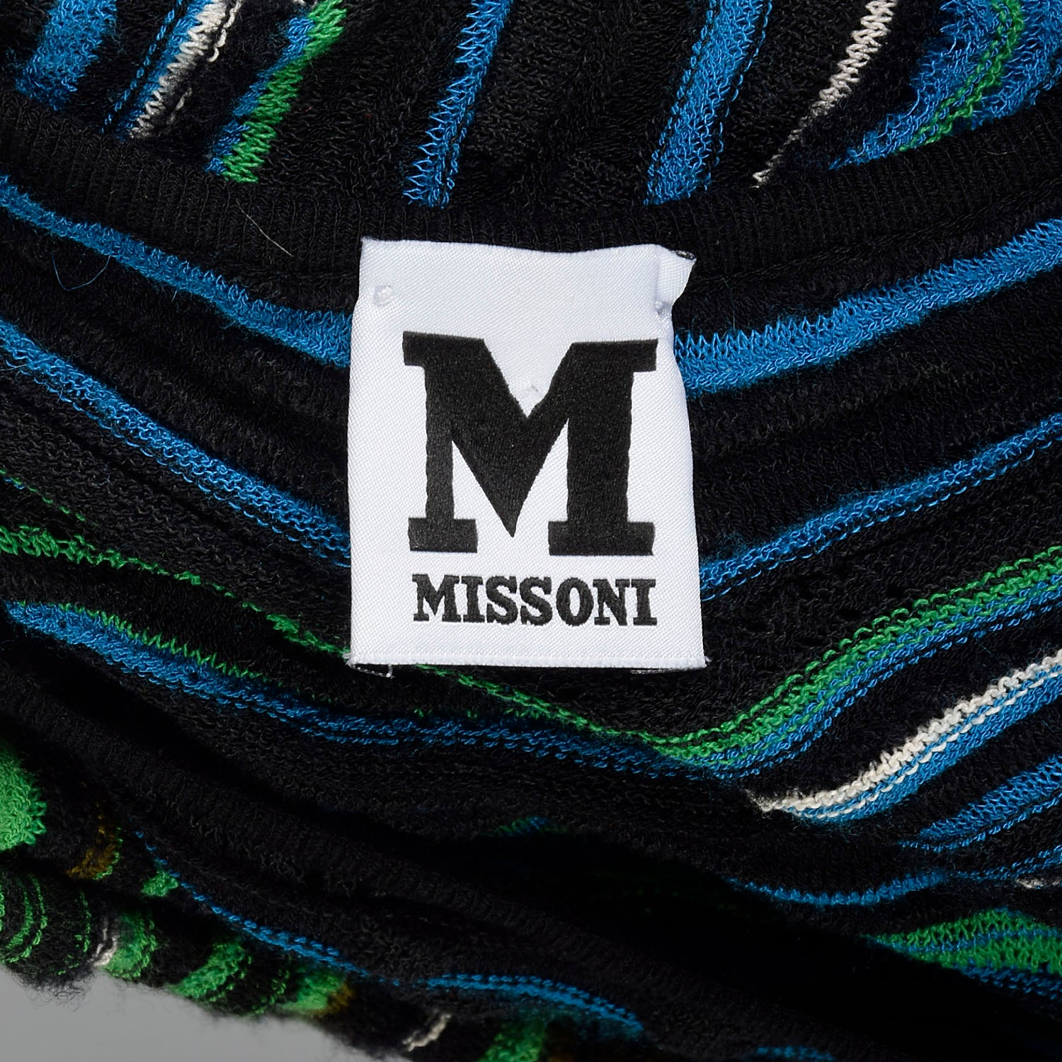 Medium M Missoni Green Knit Dress Blue Striped Long Sleeve