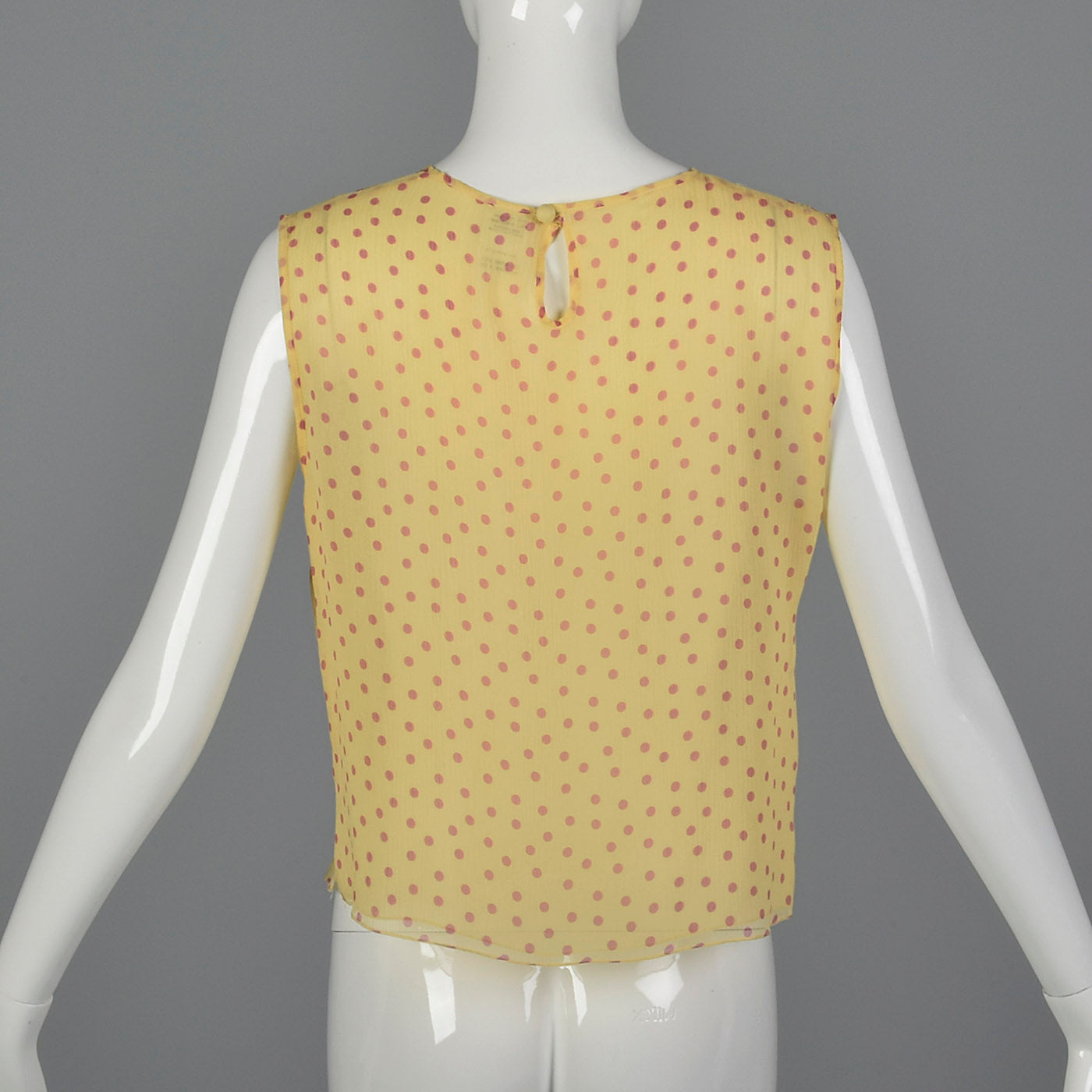 2000s Yellow Silk Blouse with Pink Polka Dots