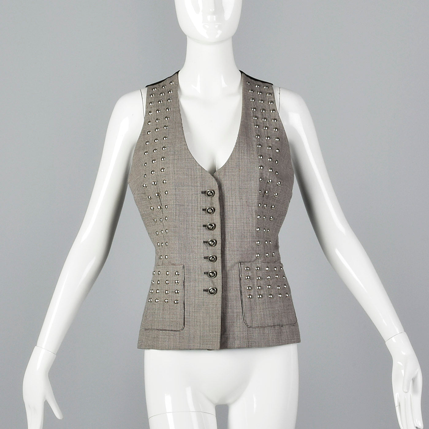 1990s Todd Oldham Seven 7 Studded Wool Vest