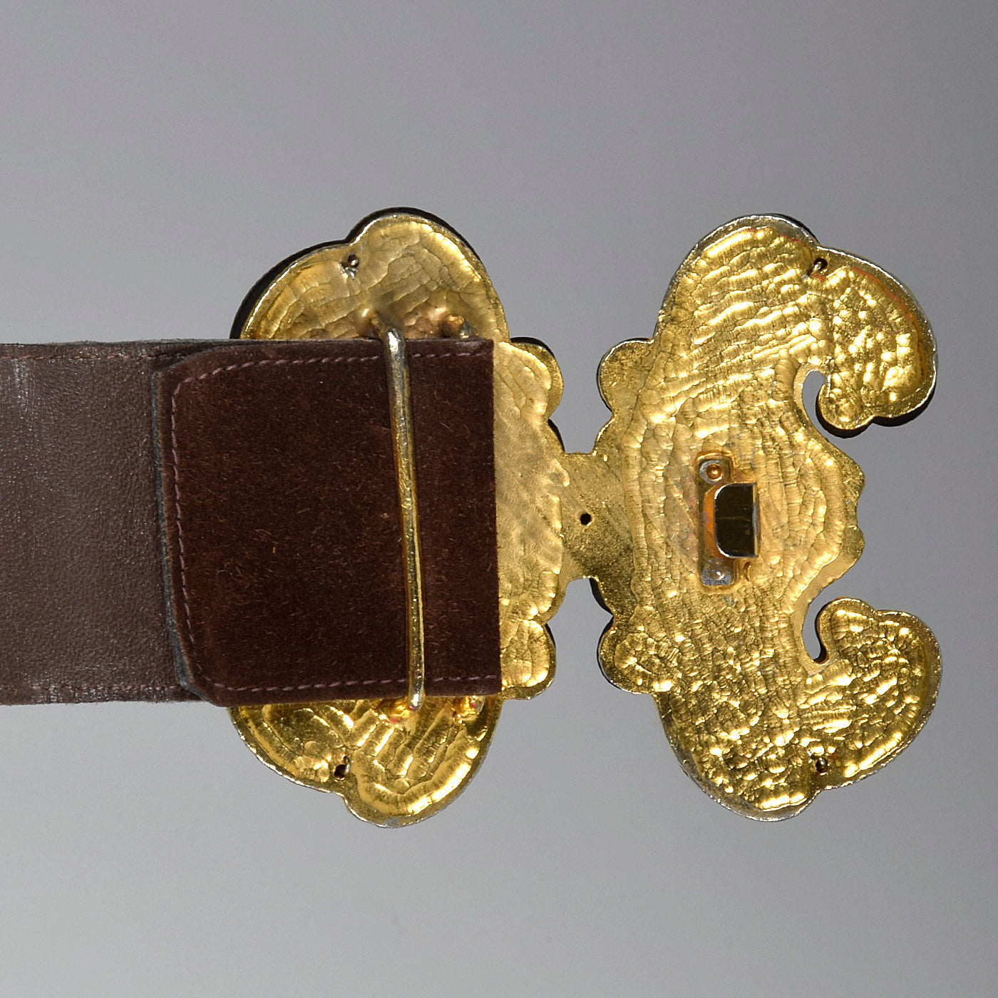 1970s Yves Saint Laurent Brown Butterfly Buckle Belt