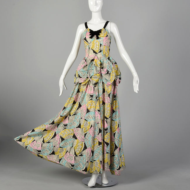 1940s Novelty Print Taffeta Evening Dress with Pastel Fans