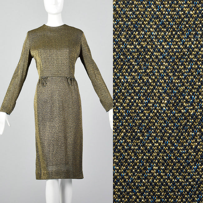 1950s Lurex Pencil Dress in Blue and Gold Knit