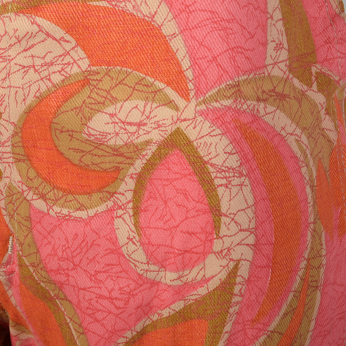 1970s Wrangler Pink and Orange Abstract Print Bellbottoms