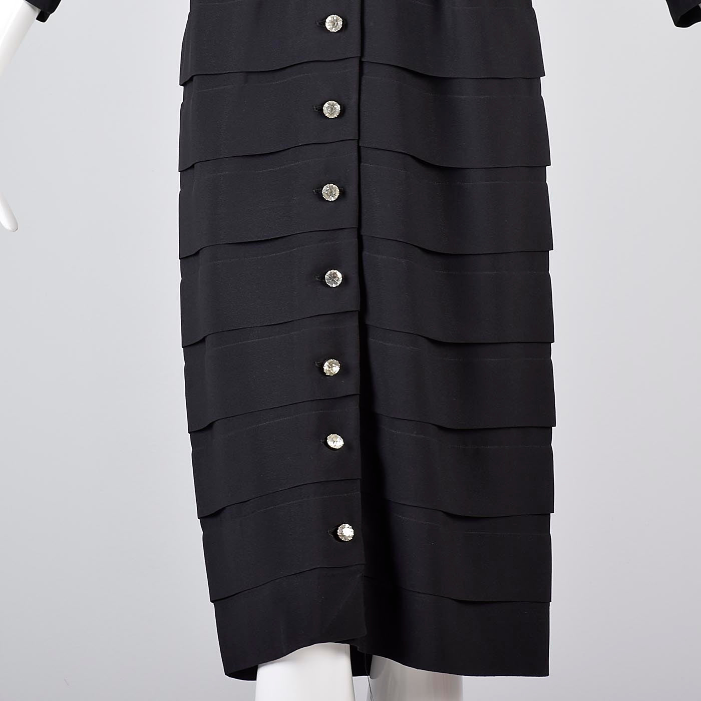 1950s Little Black Cocktail Dress with Layered Design