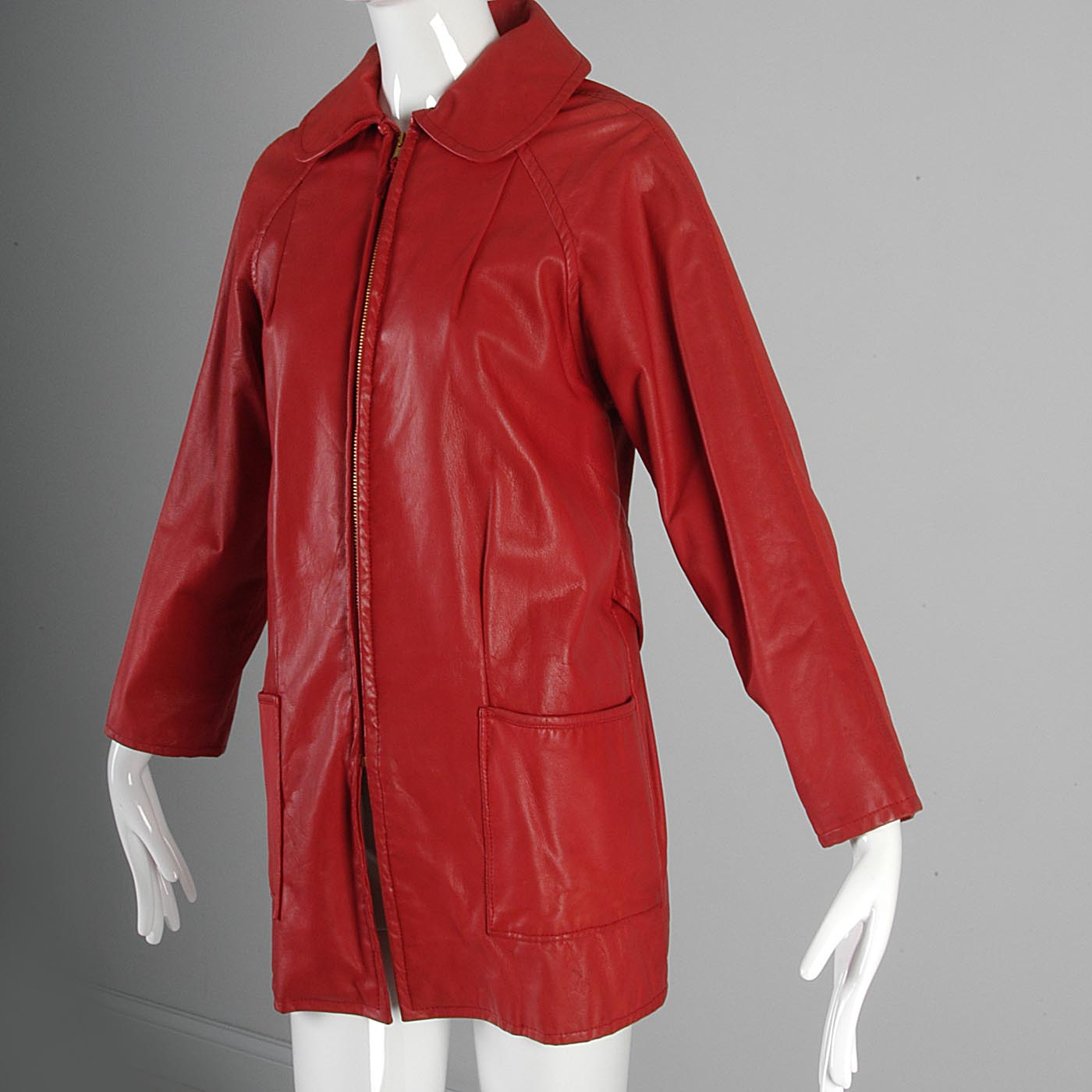 1960s Bright Lipstick Red Leather Jacket