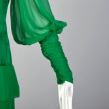 Small Galanos 1980s Emerald Green Silk Dress