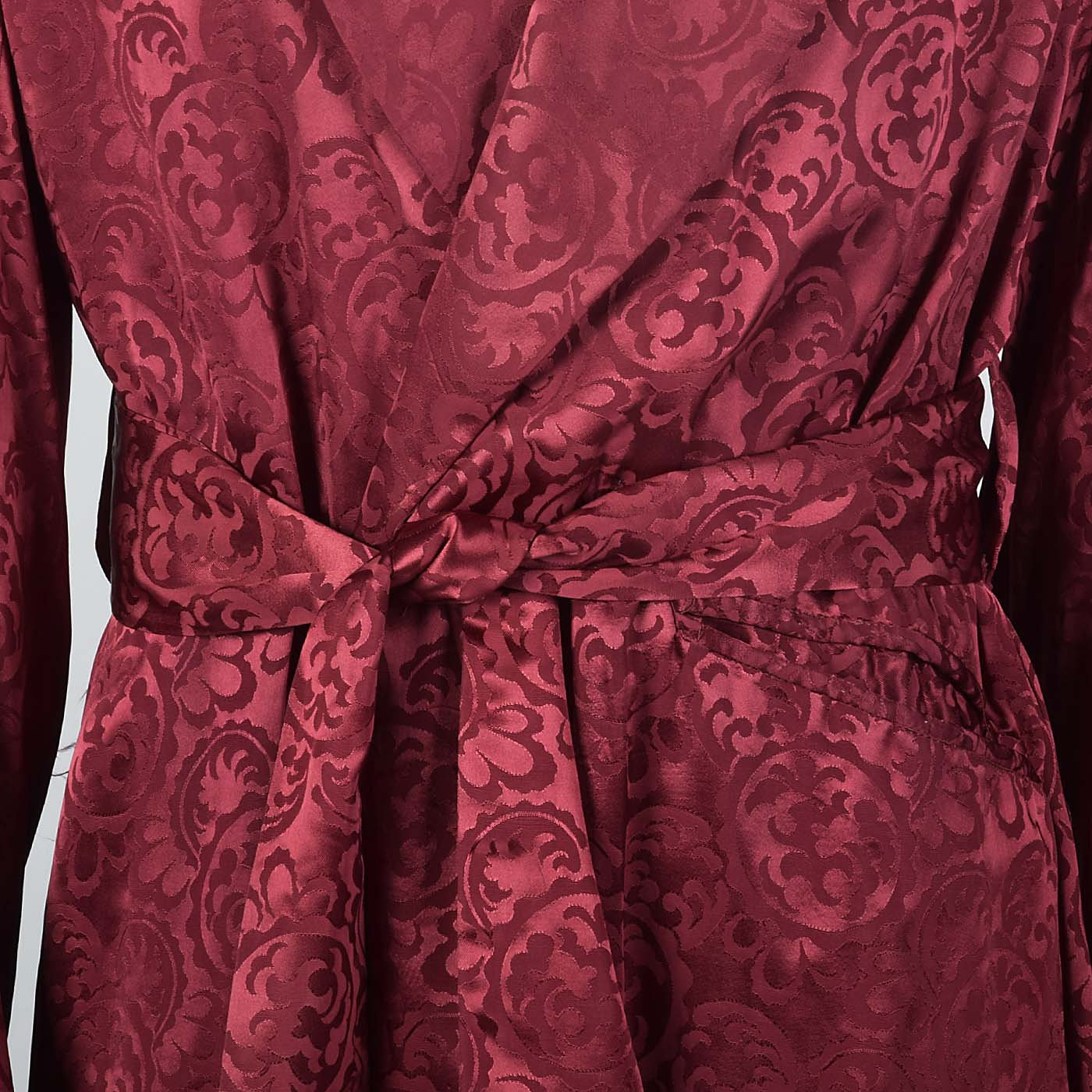 1950s Mens Deadstock Burgundy Robe with Shawl Collar