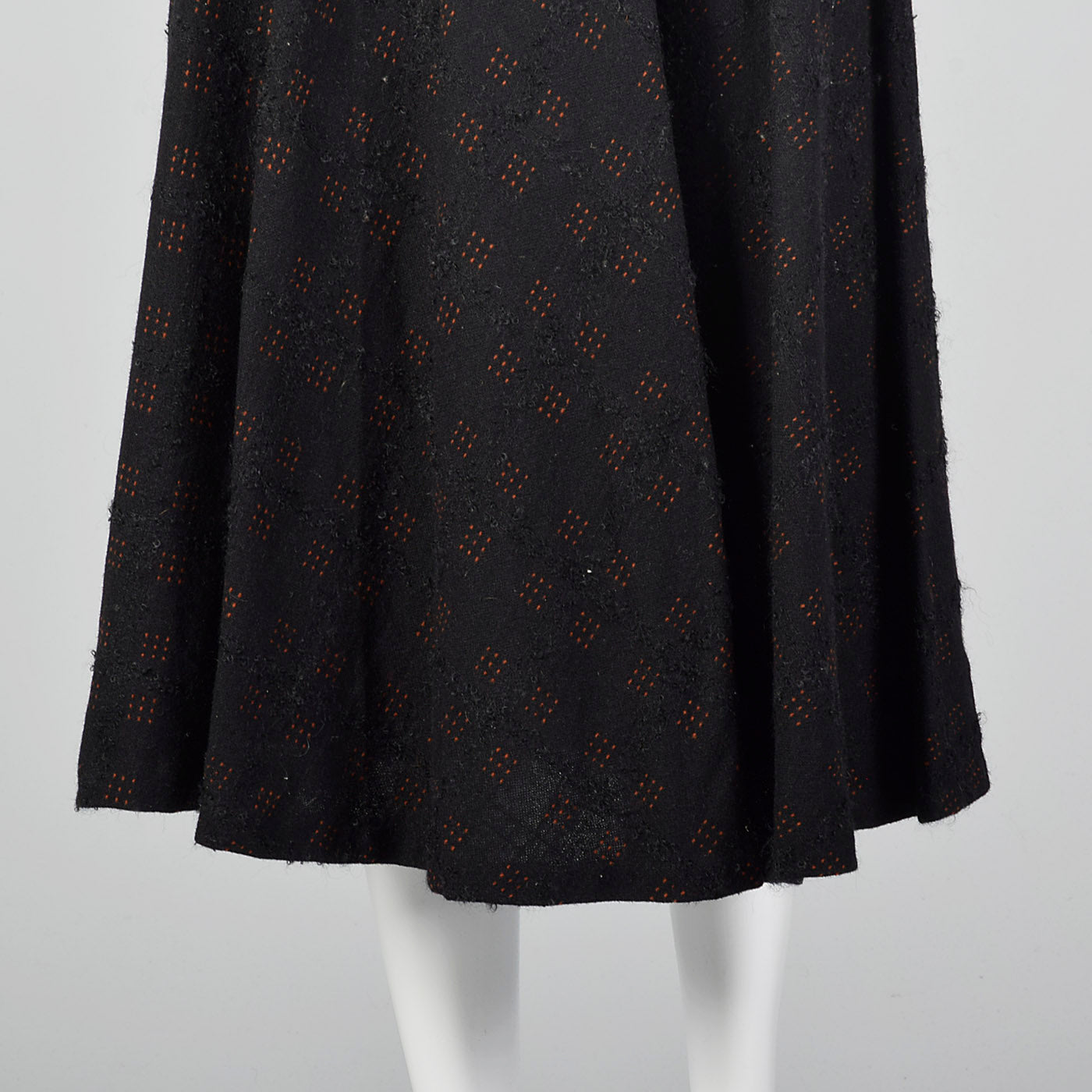 1950s Black Wool Fit and Flare Skirt