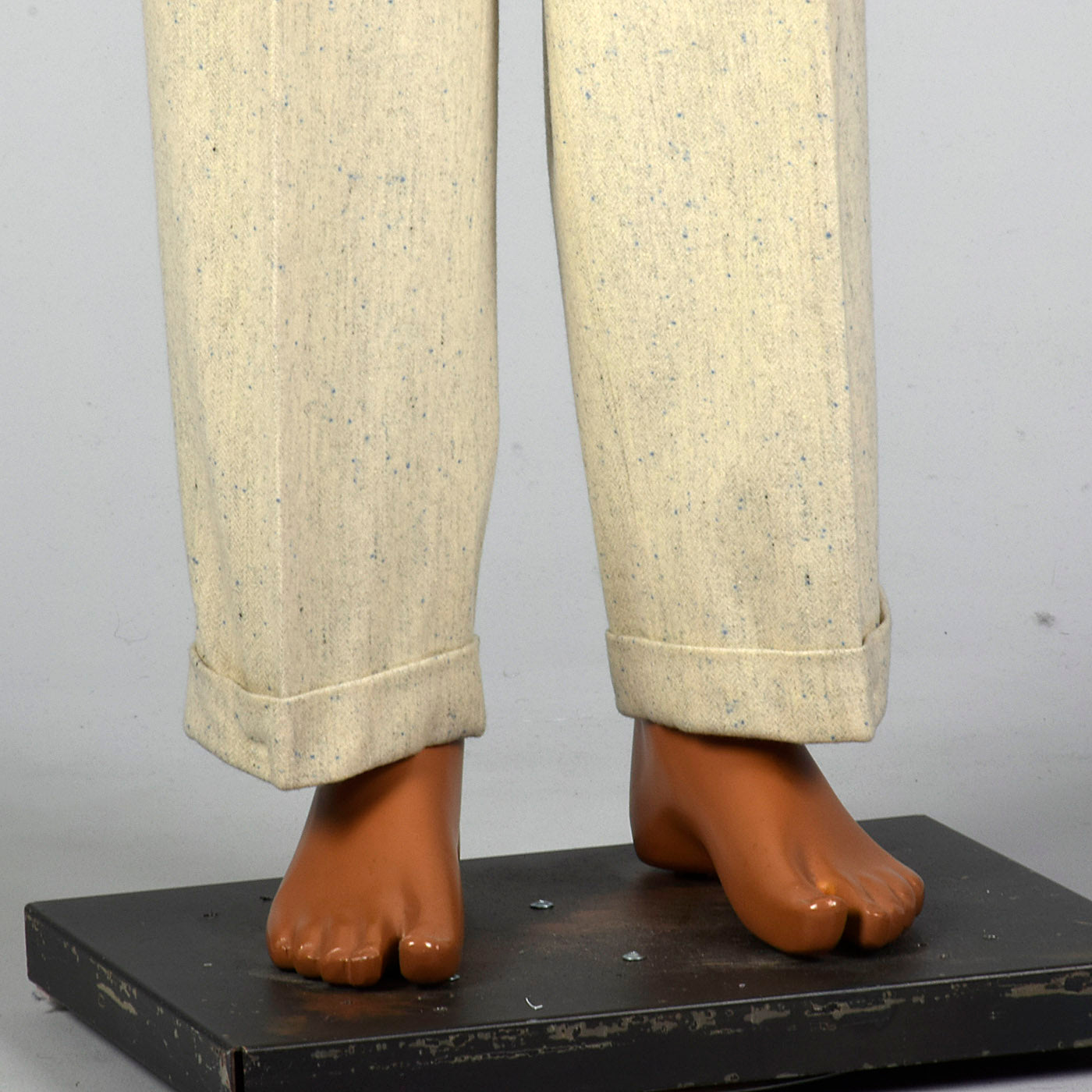 1950s Mens Hollywood Waist Wool Pants with Blue Flecks