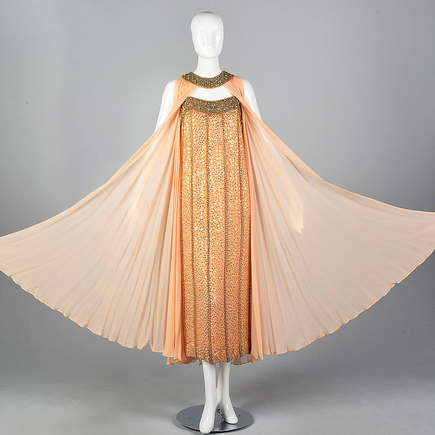 1960s Victoria Royal Beaded Gown with Silk Chiffon Cape
