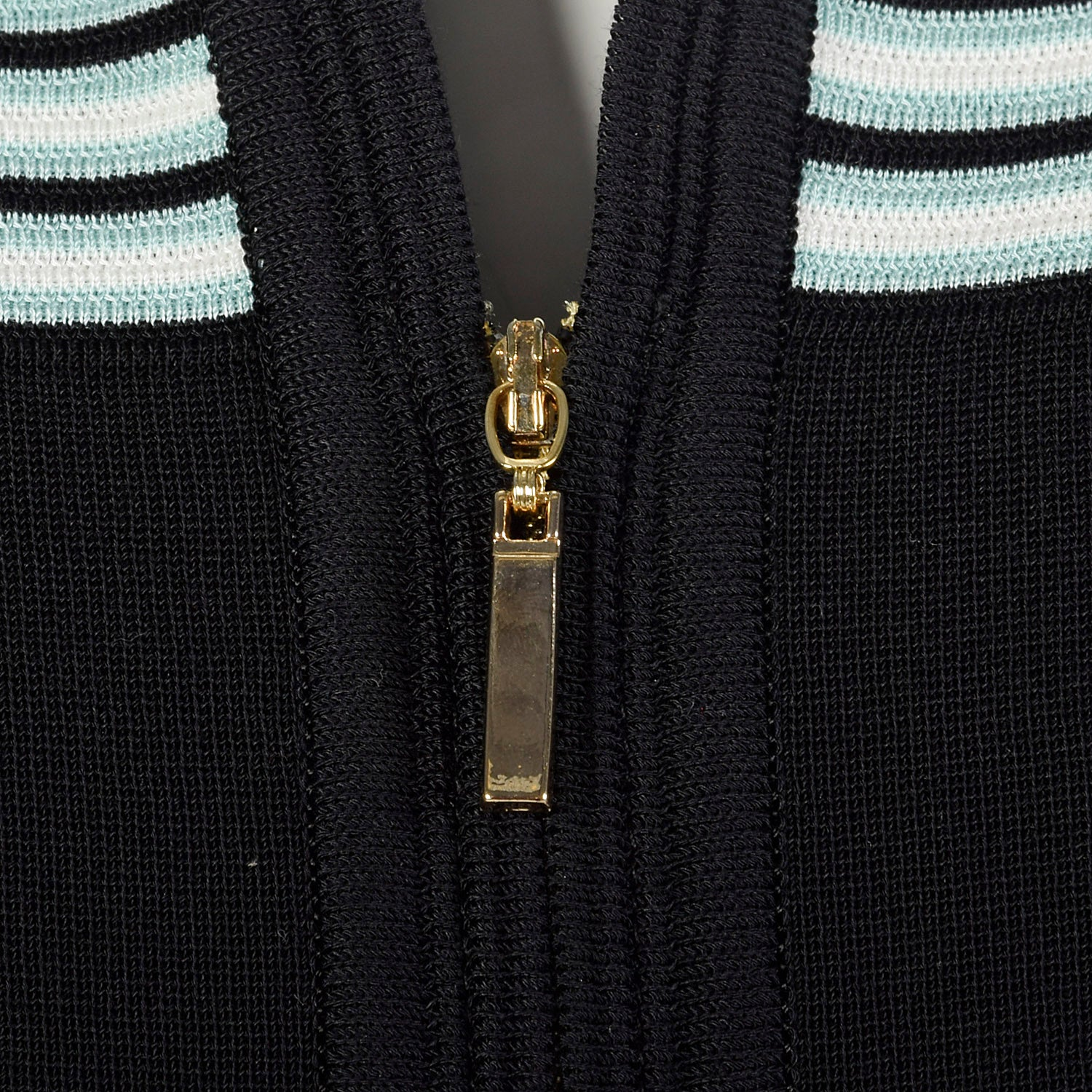 2000s Misook Black and Blue Striped Knit Shirt