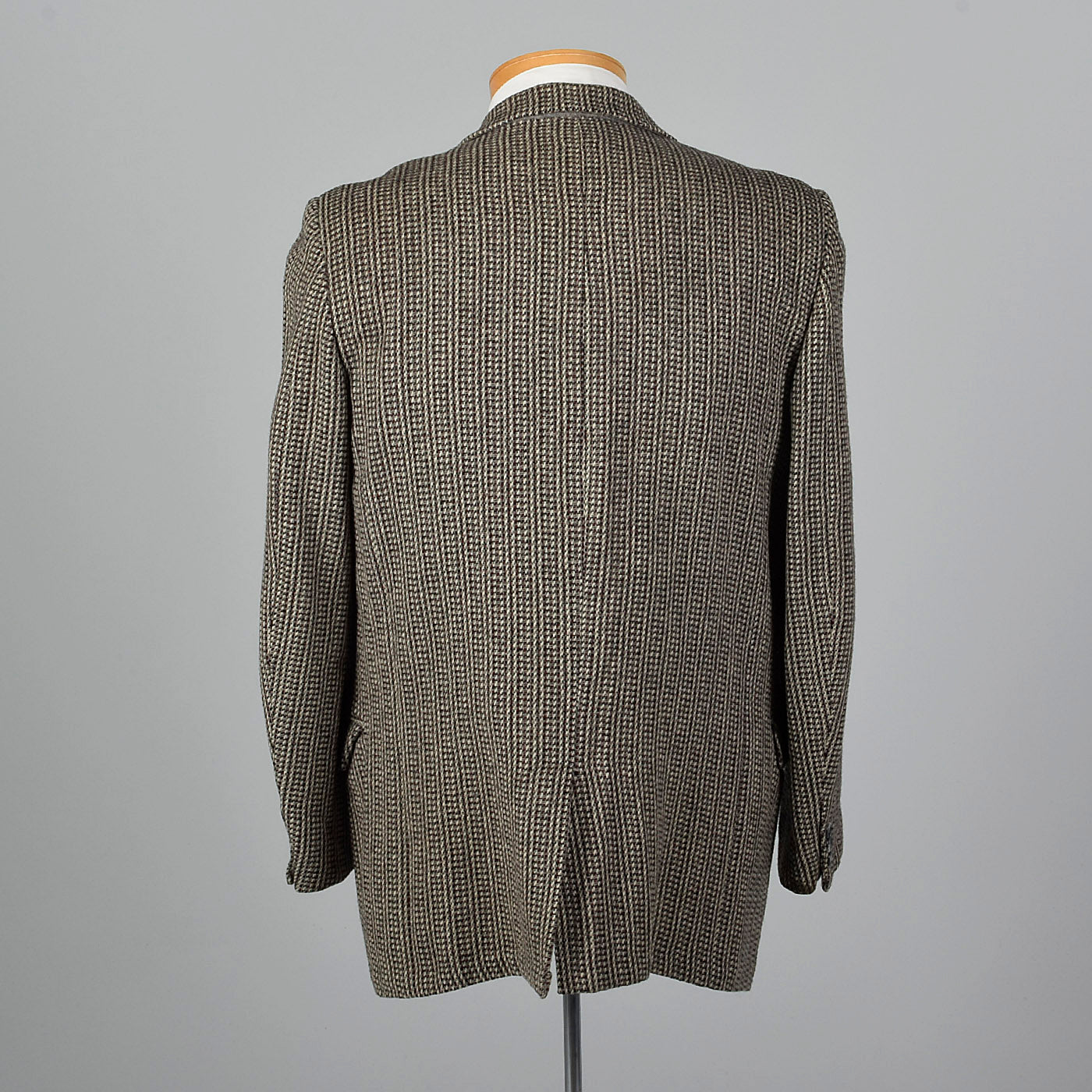 1950s Black and White Tweed Jacket with Red Stripe