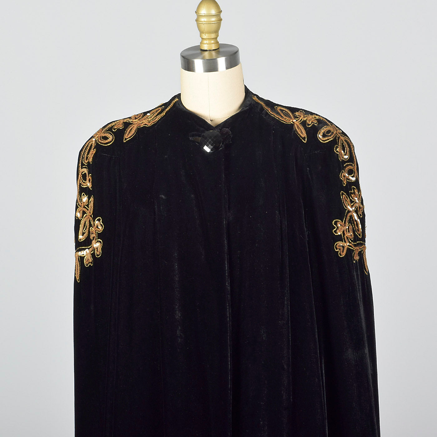 1940s Black Velvet Opera Cape with Gold Sequin Shoulders
