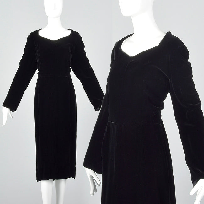 1950s Black Velvet Dress with Sweetheart Neckline