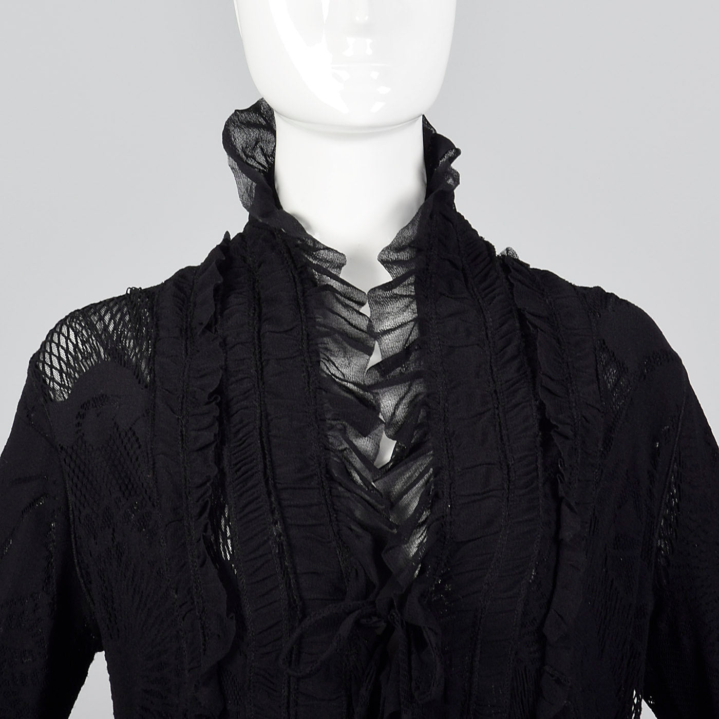 1990s Jean Paul Gaultier Soleil Black Lace and Mesh Jacket