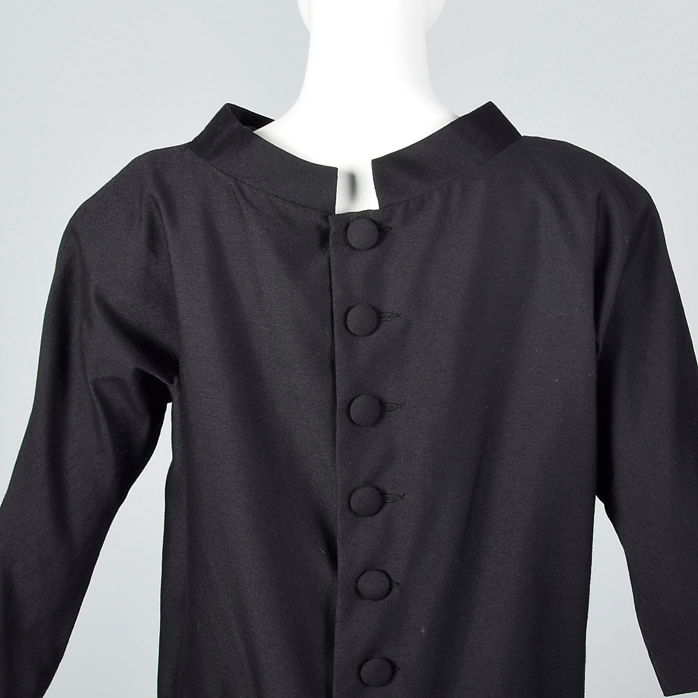1950s Suzy Perette Avant Garde Black Wool Sack Dress