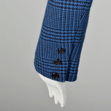 Medium Valentino Boutique 1980s Blue Houndstooth Plaid Skirt Suit