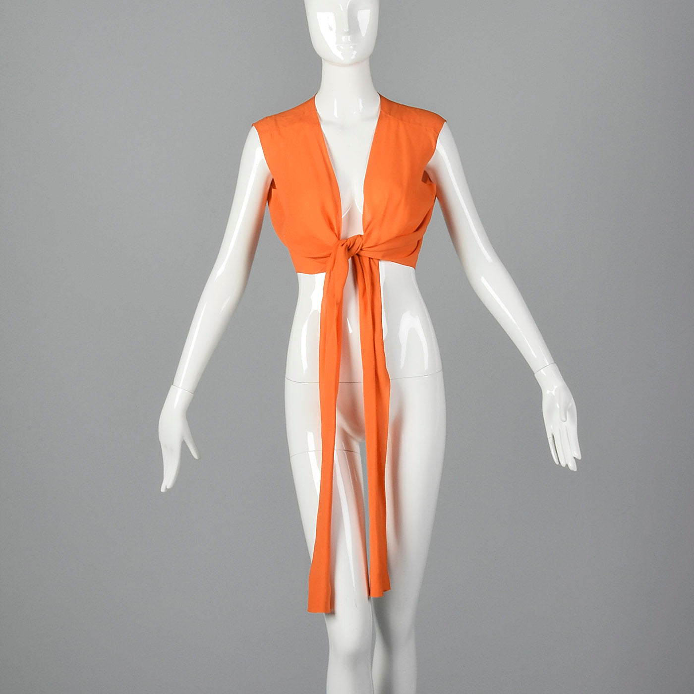 1970s Saks Fifth Avenue Orange Silk Crop Vest