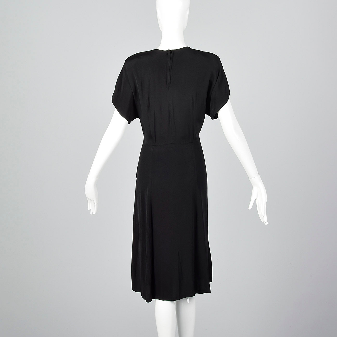 1940s Black Rayon Dress with Beaded Collar