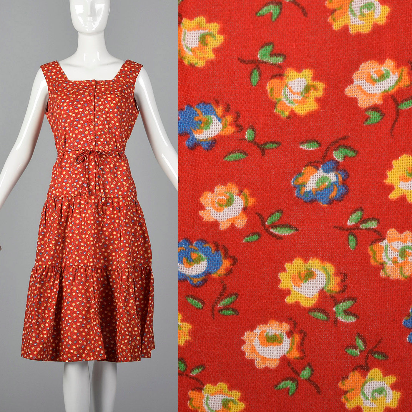 1960s Red Calico Sundress