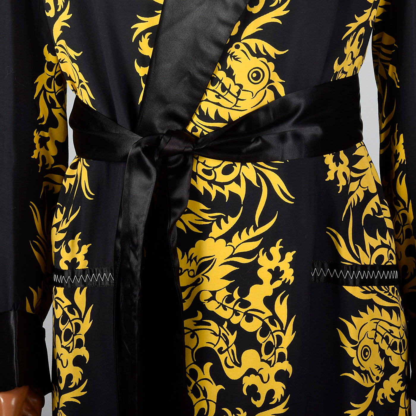 1950s Mens Deadstock Robe with Gold Dragons