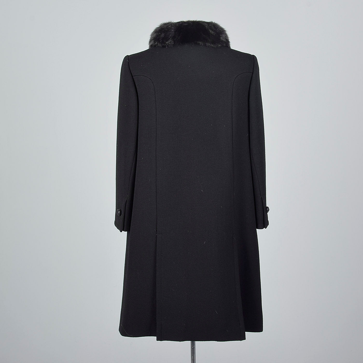 1960s Black Double Breasted Coat with Mink Collar