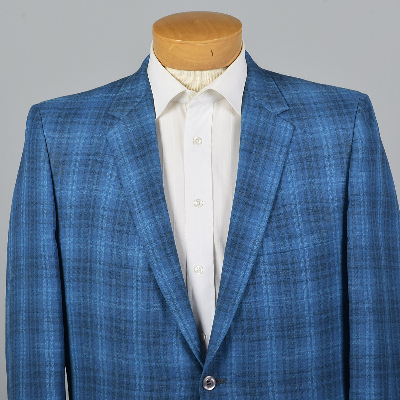 1950s Blue Plaid Jacket with Slim Lapel