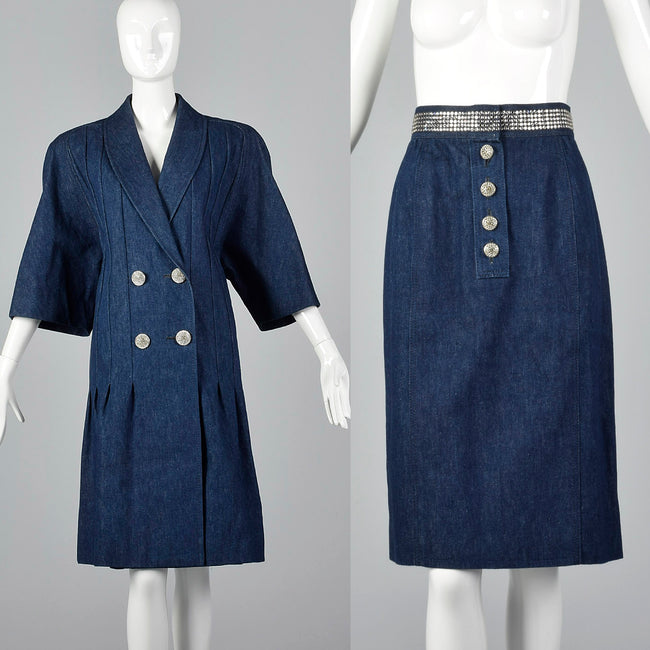 1980s Galanos Denim Set with Rhinestone Detail