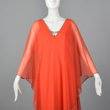 1970s Estevez Evening Dress with Float Cape Shoulders