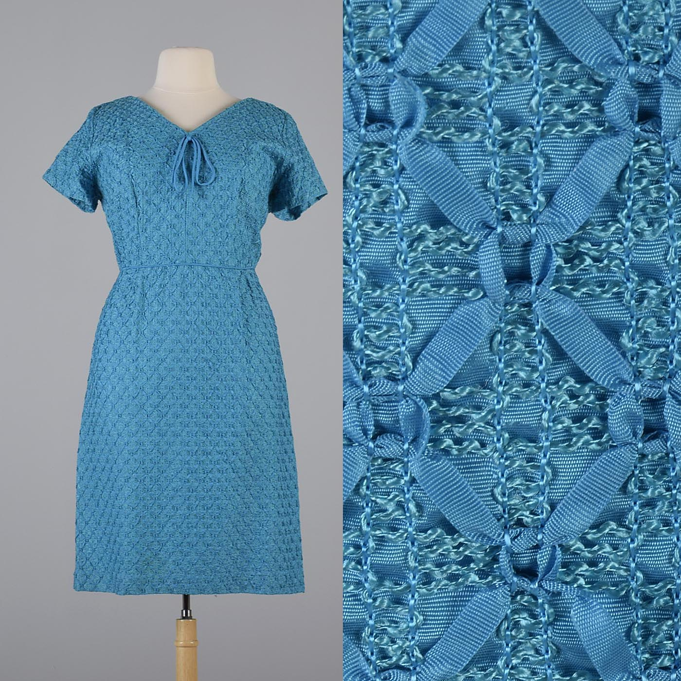 1960s Aqua Blue Ribbon Dress