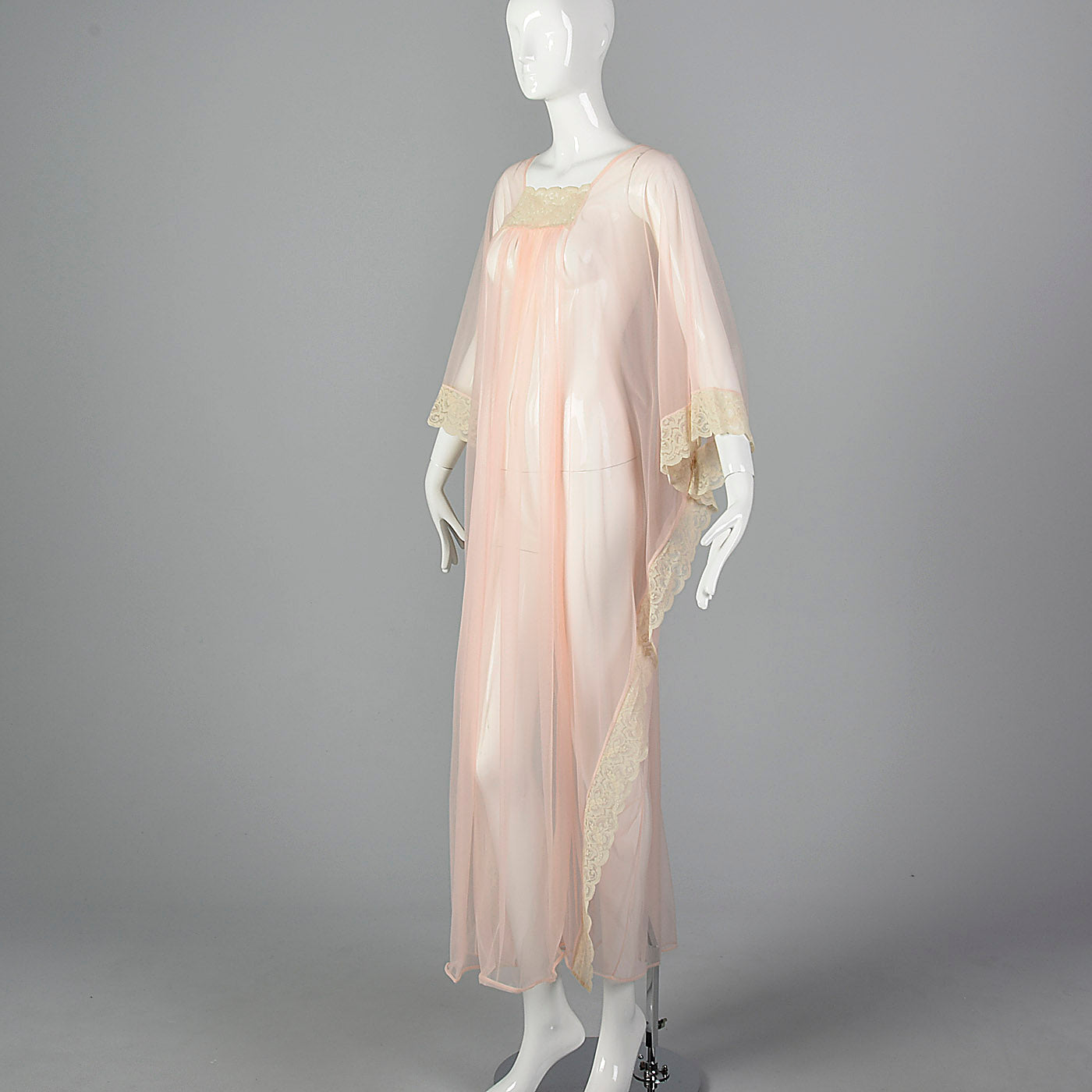1970s Sexy Sheer Kaftan Nightgown in Pink