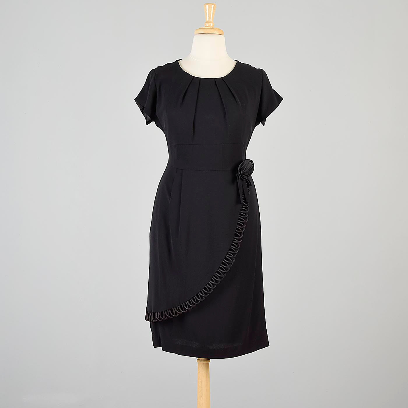 1960s Black Cocktail Dress with Faux Wrap Skirt