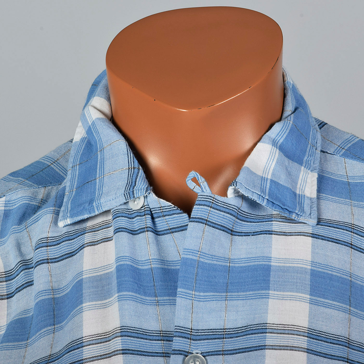 1950s Blue Plaid Rayon Shirt with Loop Collar