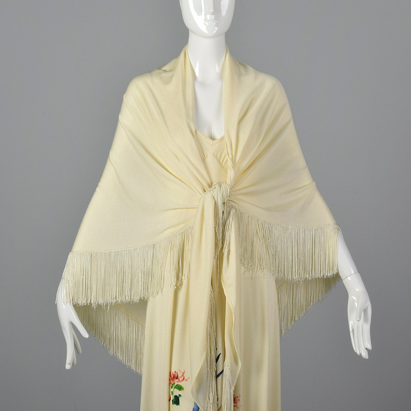 1970s Hand Painted Maxi Dress and Matching Shawl