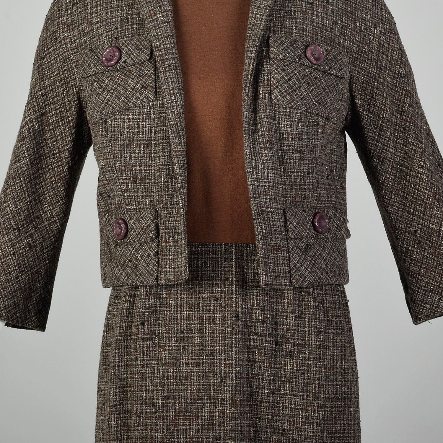 Small Brown Knit and Tweed 1960s Dress Set