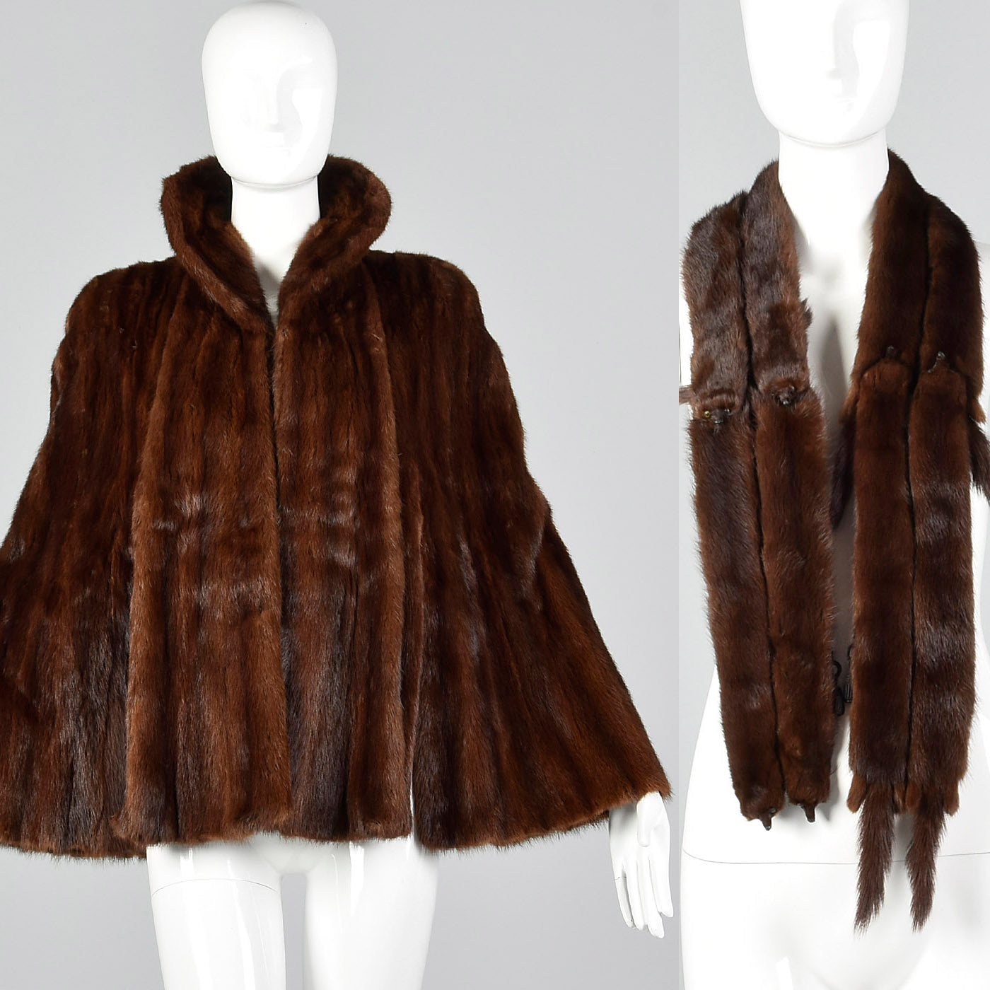 1950s Mink Fur Stole with Whole Body Mink Wrap