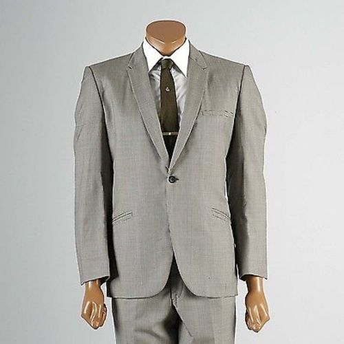 1960s Men's Mod Two Piece Suit in Black &  White Houndstooth with Red Lining