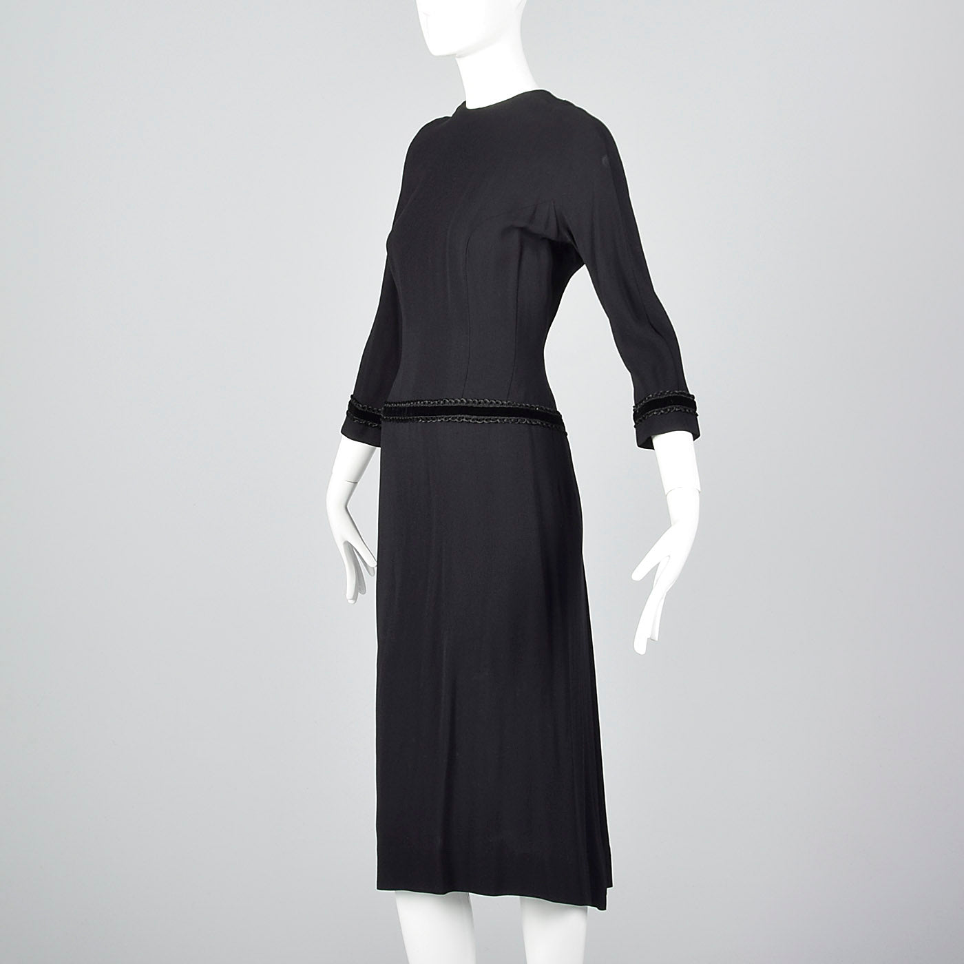 1950s Black Dress with Drop Waist and Bustle Train